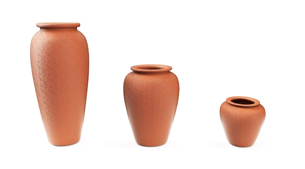 Broken clay vase isolated on white background. 3d render image.