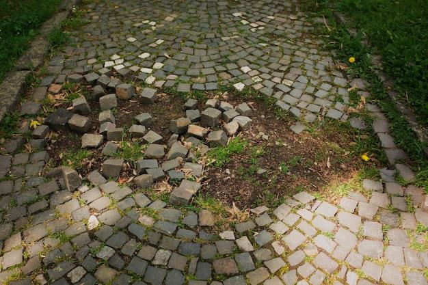 Разбитые булыжники с травой в городском парке в ужгороде