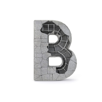 Broken concrete alphabet b