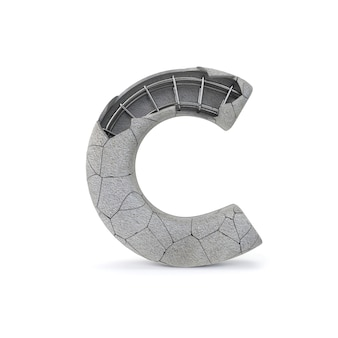 Broken concrete alphabet c