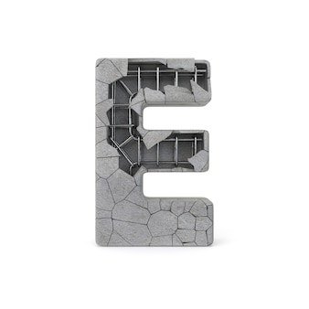 Broken concrete alphabet e