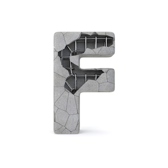Broken concrete alphabet f