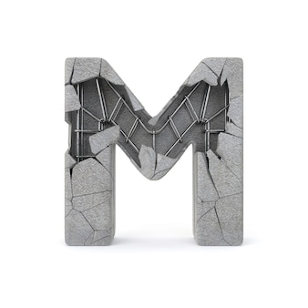 Broken concrete alphabet m