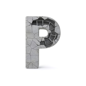 Broken concrete alphabet p
