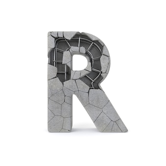 Broken concrete alphabet r