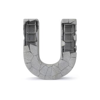Broken concrete alphabet u