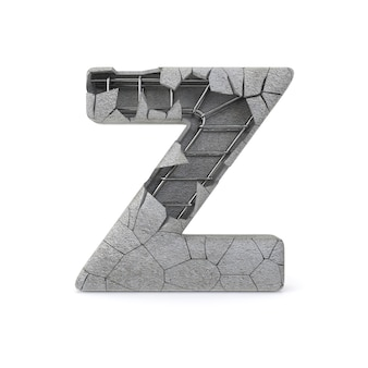 Broken concrete alphabet z