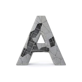 Broken concrete alphabet a