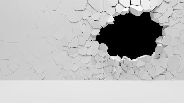 큰 구멍으로 깨진 콘크리트 벽