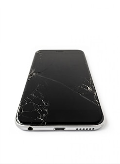 Broken and cracked screen smartphone isolate