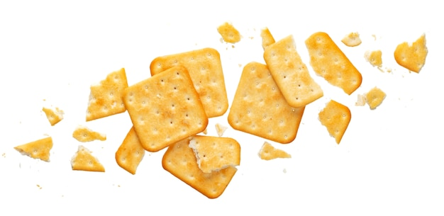 Broken cracker isolated on white background, top view