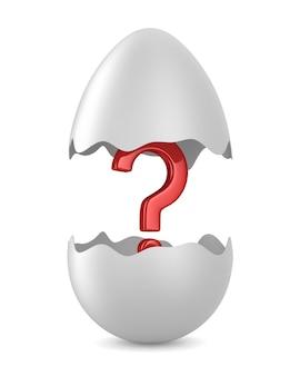 Разбитое яйцо и вопрос на белом. изолированные 3d иллюстрации
