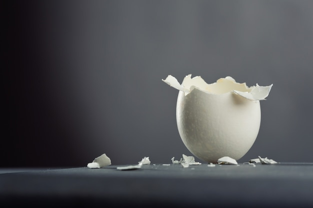 灰色の背景で分離された壊れた卵
