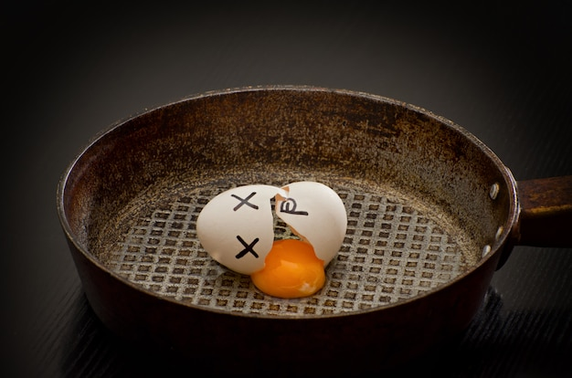Broken egg with yolk leaked in a frying pan, painted face