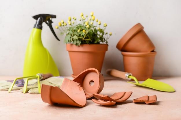 Broken flower pot and gardening tools on table