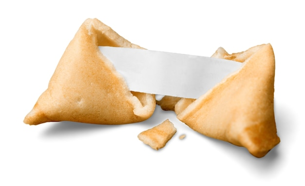 빈 종이 조각과 깨진된 포춘 쿠키