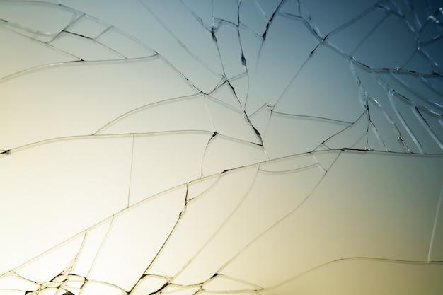 割れたガラスのクローズアップ、割れたガラス、割れたガラス、トーンのマクロの表示