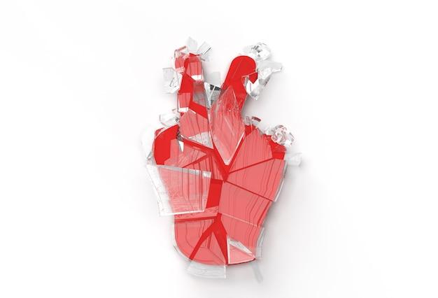 Broken glass victory celebration 3d render illustration design.