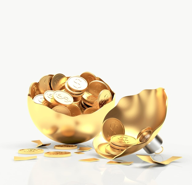 Broken golden christmas ball with coins.