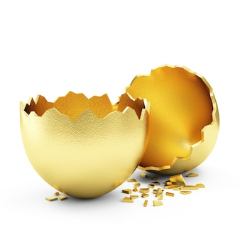 Broken golden egg isolated