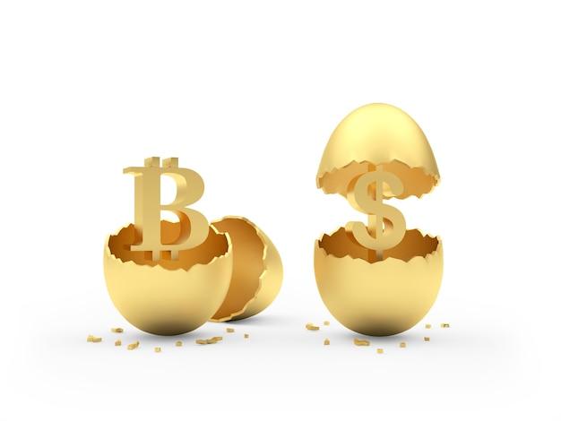 달러와 bitcoin 기호로 깨진 된 황금 알