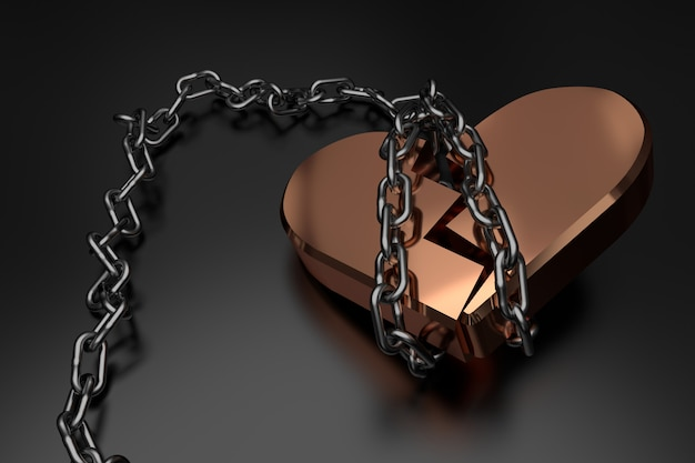 Broken heart. 3d rendering.