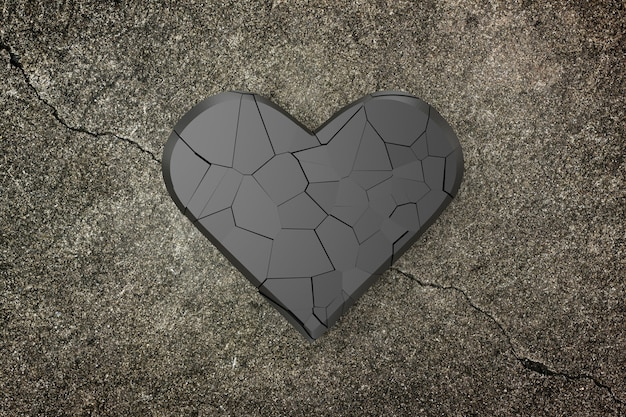 Broken heart background, 3d rendering.