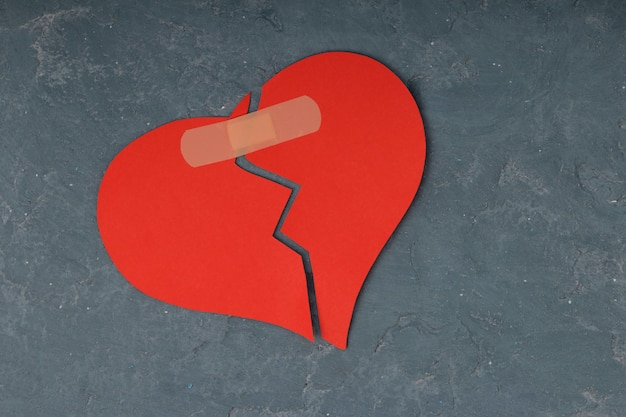 Broken heart breakup concept separation and divorce