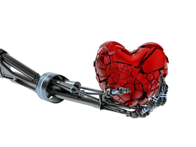Broken heart in hand of robot