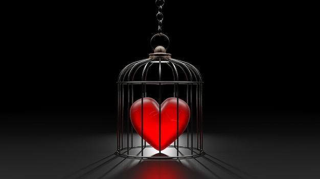 Broken heart is locked in cage.