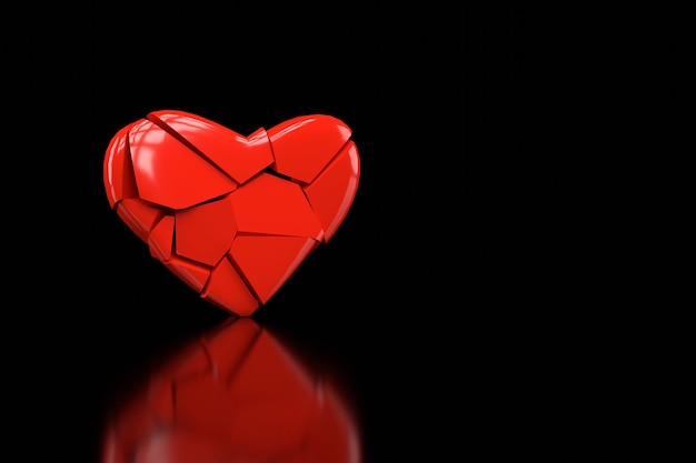 Broken heart wallpaper design. 3d rendering.