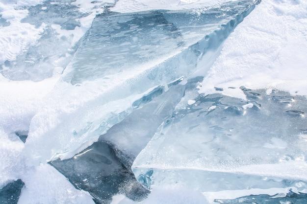Broken ice in frozen lake at lake baikal, russia