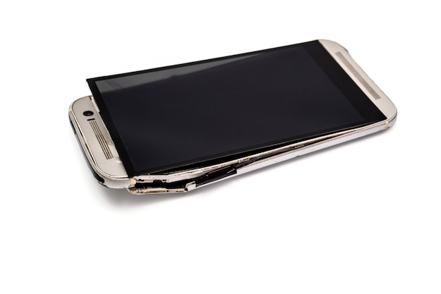 Broken mobile phone and to crack and bend.and as object and image isolated.