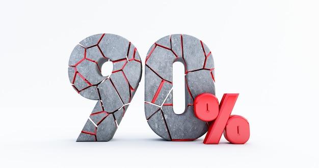 Сломанные девяносто процентов (90%) изолированные, 90 девяносто процентов продажи. до 90%.