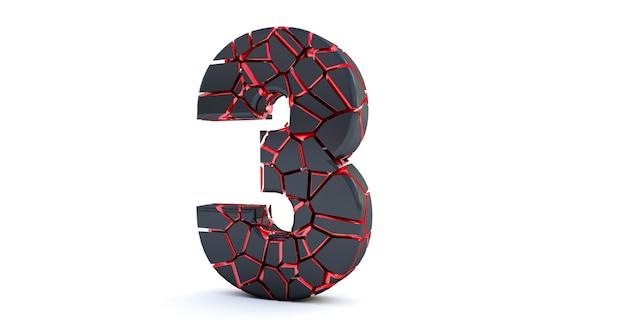 壊れた番号が分離されました(番号3)。ひびの入った3dナンバー3 3。