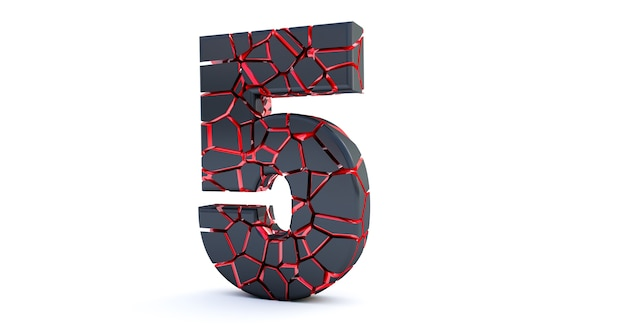 Broken number isolated (number 5). cracked 3d number 5 five.