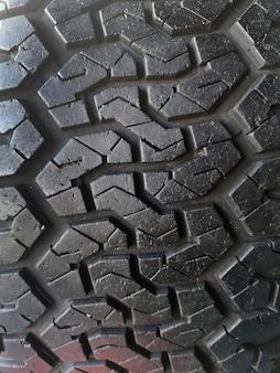 Broken old tyre close up