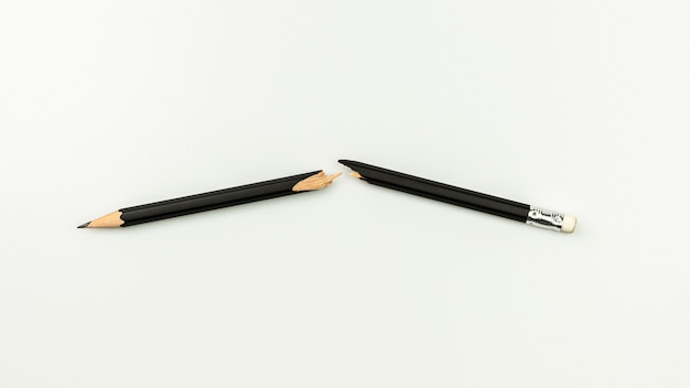 Broken pencil isolated