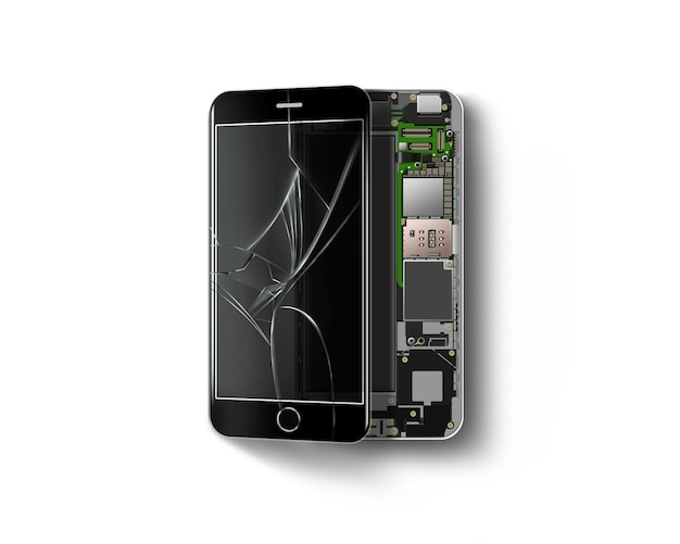 Broken phone inside isolated, chip, motherboard, processor