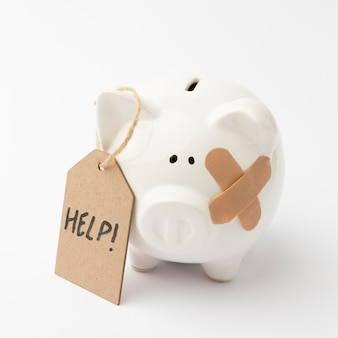 Broken piggy bank asking for help