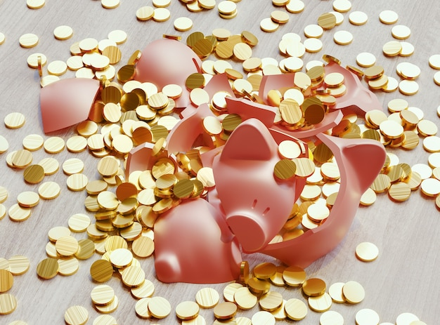 A broken piggy bank loaded with dollar coins. business and finance concept. 3d rendering illustration