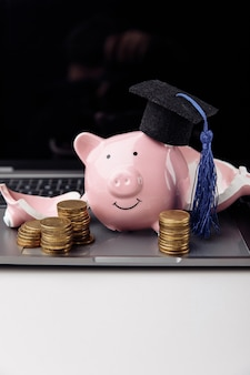 노트북에 모자에 깨진된 핑크 돼지 저금통입니다. 세로 이미지. 교육 개념을 위한 저축.