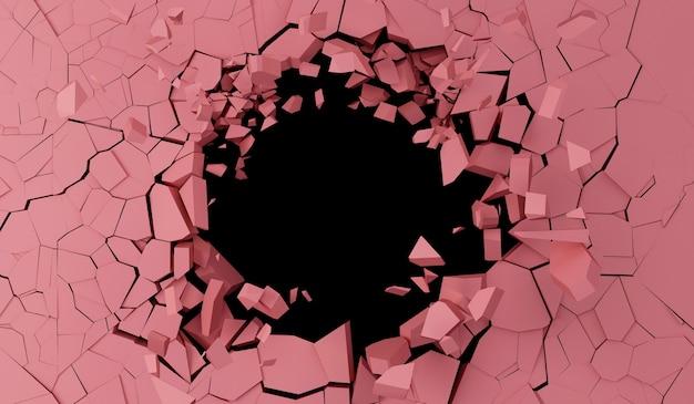 Сломанная розовая стена с большой дырой