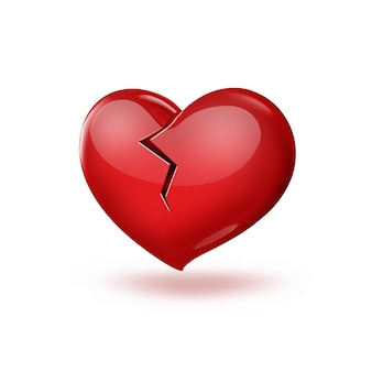 Broken red heart on a white background