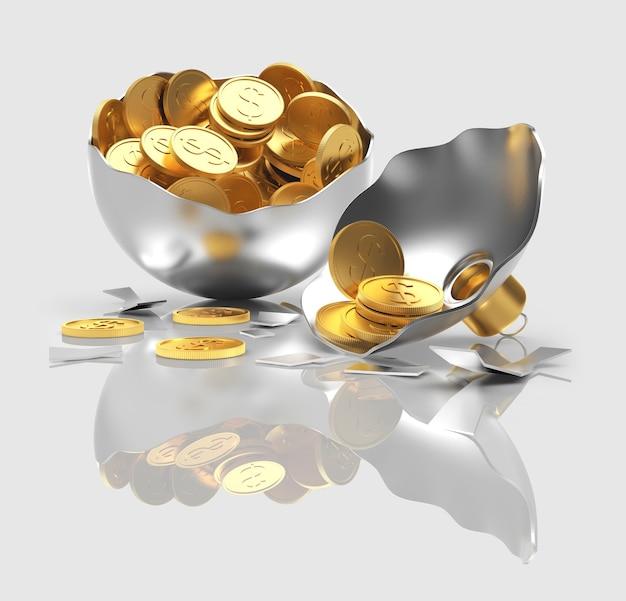 反射のあるコインでいっぱいの壊れた銀のクリスマスボール。