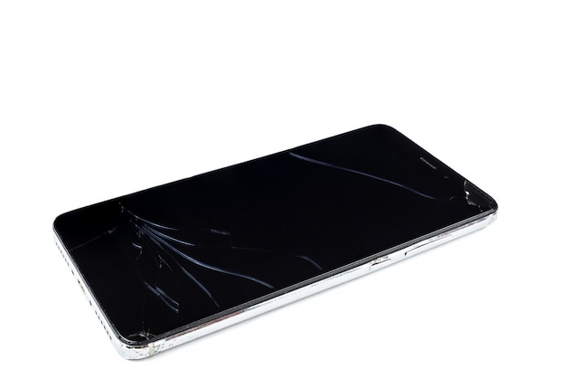 Broken smartphone on white background
