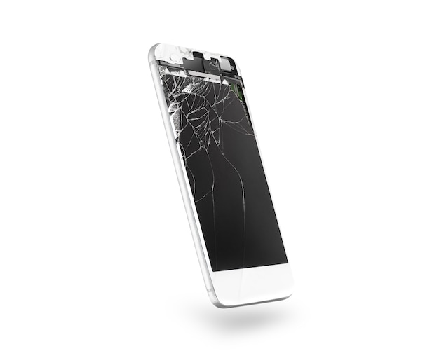 Broken white mobile phone screen, side view, isolated