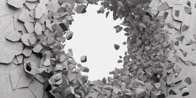 Сломанная белая стена с дырой в центре 3d иллюстрации