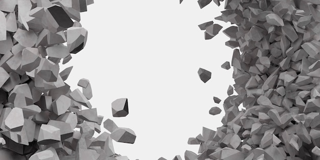Broken white wall with a hole in the center 3d illustration