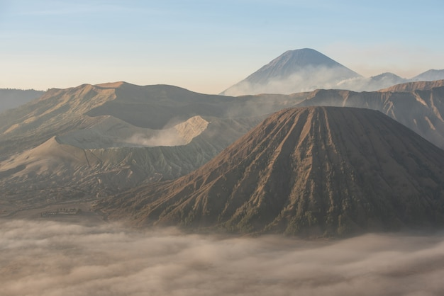 Bromo, batok and semeru volcanoes at sunrise